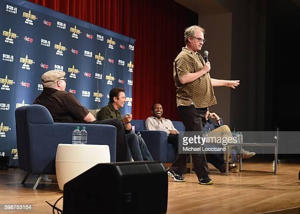Moderator film critic Jordan Hoffman and actors Dominic Keating Anthony Montgomery and John Billingsley from Star Trek Enterprise take part in a...
