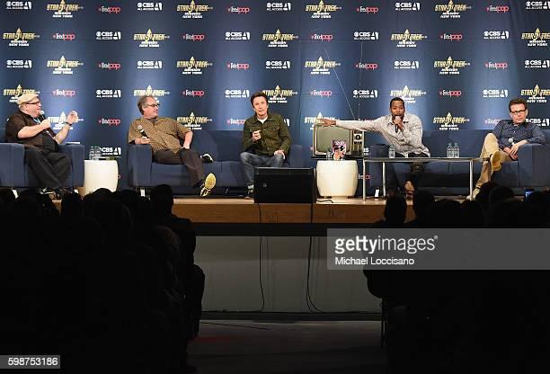 Moderator film critic Jordan Hoffman and actors John Billingsley Dominic Keating Anthony Montgomery and Connor Trinneer from Star Trek Enterprise...