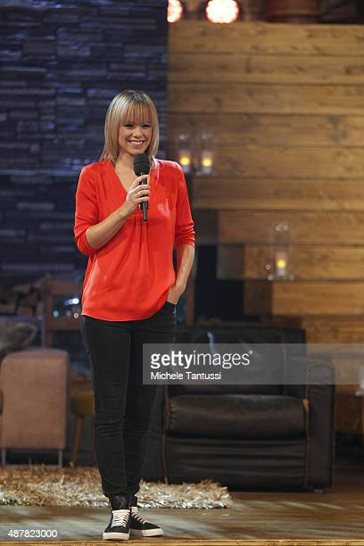 Moderator Francine Jordi during the dress rehearsal of the TV music show Stadlshow on September 11 2015 in Offenburg Germany