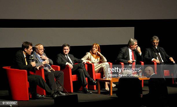 Moderator Franco Zeffirelli Gianni Alemanno Michela Vittoria Brambilla Mario Cutrufo and Andrea Bocelli attend the 'Omaggio A Roma' Press Conference...