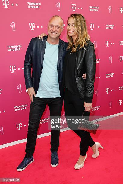 TV moderator Frank Buschmann and his girlfiend Lisa Heckl attend the Telekom Entertain TV Night at Hotel Zoo on April 28 2016 in Berlin Germany