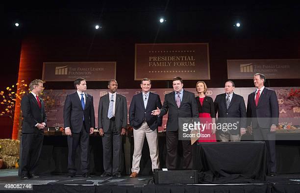 Moderator Frank Luntz introduces Republican presidential candidates Sen Rand Paul Sen Marco Rubio Ben Carson Ted Cruz and Carly Fiorina Mike Huckabee...