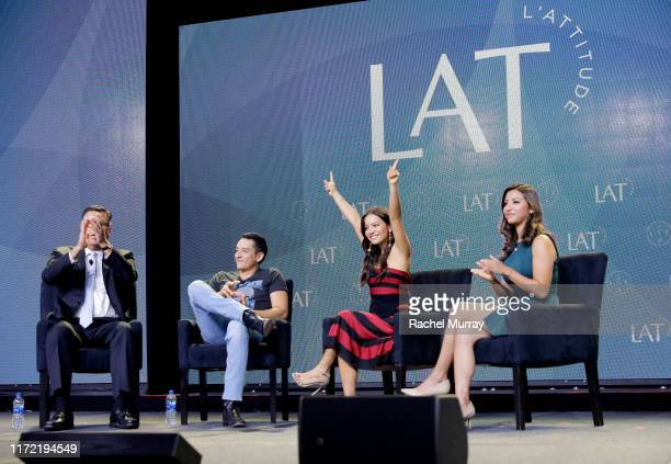 Moderator Gary Acosta actors Gabriel Luna Natalia Reyes and moderator Ana Cristina Sanchez speak onstage at the screening and conversation of...