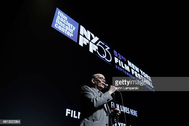 Moderator Gavin Smith attends 'Microbe Gasoline' during 53rd New York Film Festival at Alice Tully Hall Lincoln Center on October 4 2015 in New York...