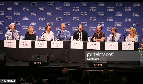 Moderator Glenn Whipp speaks with producers Cathleen Sutherland of 'Boyhood' Teddy Schwarzman of 'The Imitation Game' Robert Lorenz of 'American...