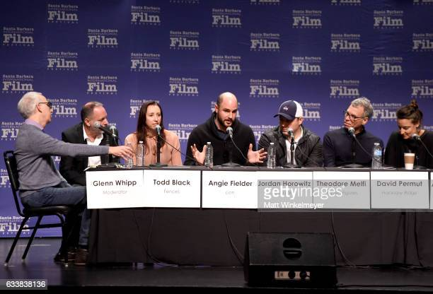 Moderator Glenn Whipp with producers Todd Black Angie Fielder Jordan Horowitz Theodore Melfi David Permut and Adele Romanski speak onstage at the...