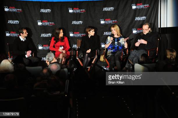 Moderator Gordon Cox producer Elizabeth Karlsen actress Sally Hawkins actress Miranda Richardson and director Nigel Cole attend a screening of 'Made...
