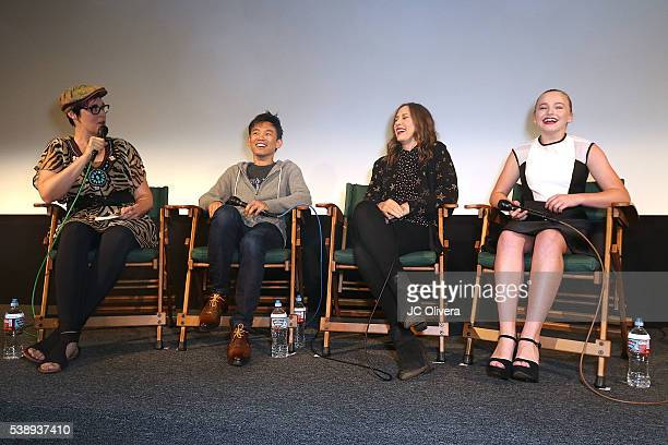 Moderator Grae Drake Senior Movie Editor of Rotten Tomatoes director James Wan actresses Vera Farmiga and Madison Wolfe attend the screening and QA...