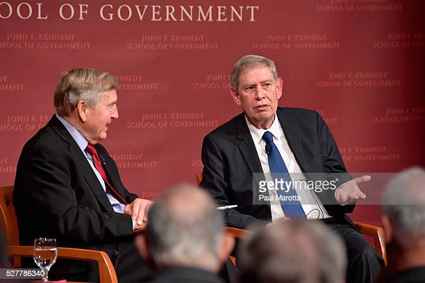"""Moderator Graham Allison and Former Mossad Director Tamir Pardo discuss """"ISIS, Israel, and Spymasters: A Reality Check"""" at the Harvard University..."""