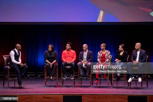 Moderator Harold Reynolds Sharon Robinson daughter of Jackie Robinson former Boston Red Sox pitcher Pedro Martinez former Boston Red Sox player Tommy...