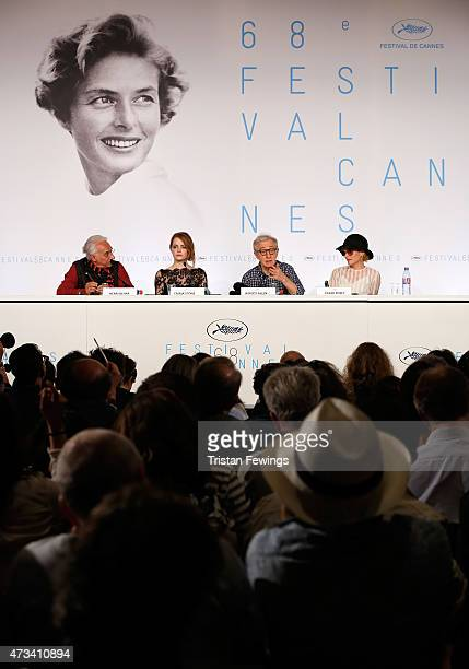 """Moderator Henri Behar, actress Emma Stone, director Woody Allen and actress Parker Posey attend the """"Irrational Man"""" press Conference during the 68th..."""