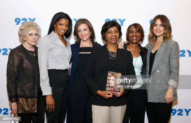 Moderator Henrietta Dreifus Renee Elise Goldsberry Rebecca Skloot Shirley Lacks Jeri Lacks and Rose Byrne attend 92nd Street Y presents 'The Immortal...