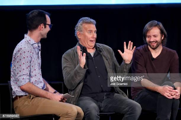 Moderator Jackson McHenry actor Paul Reiser and writer/producer Matt Duffer speak onstage during the 'Stranger Things Inside the Upside Down' panel...