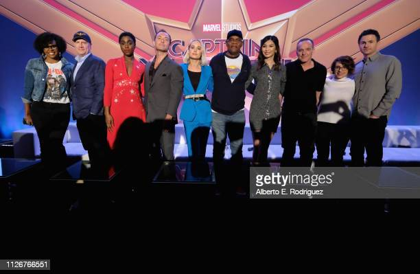 Moderator Jacqueline Coley President of Marvel Studios/Producer Kevin Feige actors Lashana Lynch Jude Law Brie Larson Samuel L Jackson Gemma Chan...
