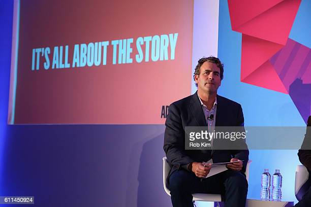 Moderator James Cooper speaks onstage in the It's All About the Story panel on the ADARA Stage at Times Center Hall during 2016 Advertising Week New...
