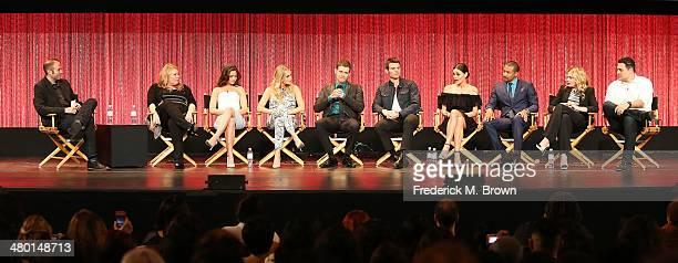 Moderator Jarett Wiselman, executive producer Julie Plec, actress Daniellle Campbell, acterss Claire Holt, actor Joseph Morgan, actor Daniel Gillies,...