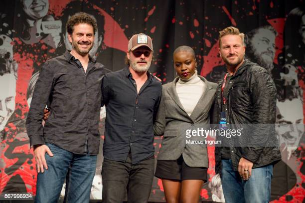 Moderator Jason Cabassi actor Andrew Lincoln and actress Danai Gurira onstage during the 2017 Walker Stalker Con Atlanta at Georgia World Congress...