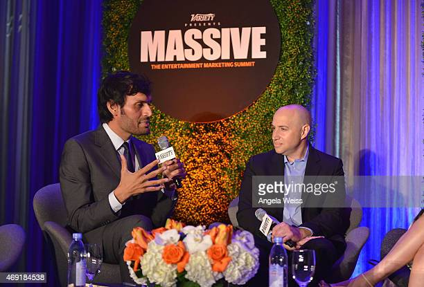 Moderator Jeetendr Sehdev and Scott Birnbaum of Aeropostale speak onstage at Variety's Massive The Entertainment Marketing Summit at Four Seasons...