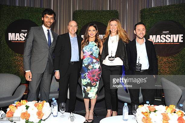 Moderator Jeetendr Sehdev Scott Birnbaum of Aeropostale Bethany Mota Amy Sherman of Marriott International and Sam Wick of Maker Studios attend...
