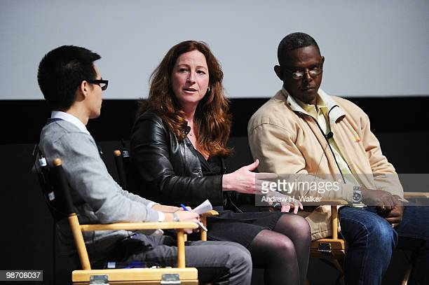 Moderator Jeff Chu filmmaker Deborah Scranton and fixer Jean Pierre Sagahutu speak at Tribeca Talks Earth Made Of Glass during the 2010 Tribeca Film...