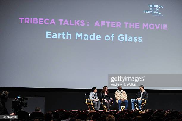 Moderator Jeff Chu filmmaker Deborah Scranton fixer Jean Pierre Sagahutu and filmmaker Reid Carolin attend Tribeca Talks Earth Made Of Glass during...