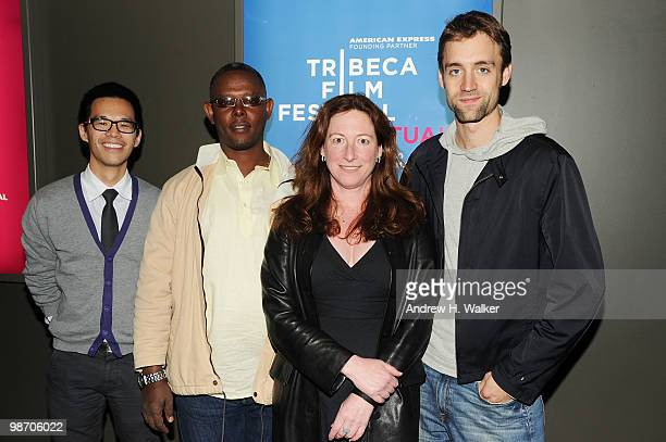 Moderator Jeff Chu fixer Jean Pierre Sagahutu filmmaker Deborah Scranton and filmmaker Reid Carolin attend Tribeca Talks Earth Made Of Glass during...