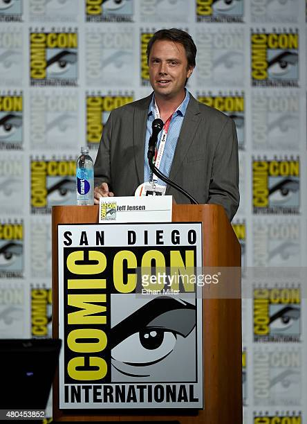 Moderator Jeff Jensen speaks onstage at the 'Hannibal' Savor the Hunt panel during ComicCon International 2015 at the San Diego Convention Center on...