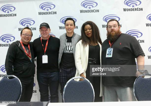 Moderator Jeff Yang Showrunner Alfred Gough Actor/executive producer Daniel Wu actors Lorraine Toussaint and Nick Frost onstage during AMC's 'Into...