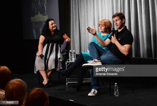 Moderator Jenelle Riley and actors Lesley Nicol and Allen Leech attend the SAGAFTRA Foundation Conversations with Downton Abbey at the SAGAFTRA...