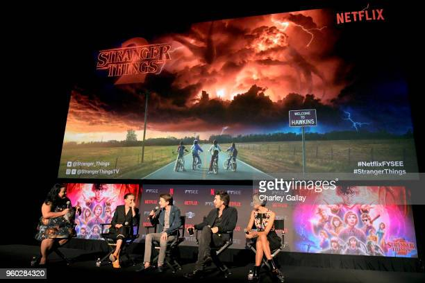 Moderator Jenelle Riley Millie Bobby Brown Noah Schnapp Director Shawn Levy and Casting Director Carmen Cuba speak onstage at The Stranger Things 2...