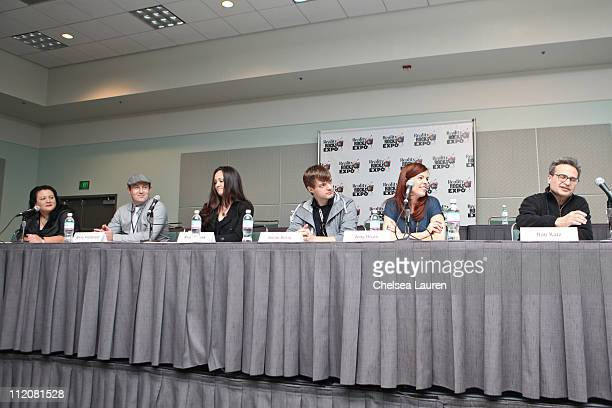 Moderator Jenelle Riley of Back Stage Magazine television personalities Barry Fitzgerald Kris Williams Adam Berry Amy Bruni and executive producer...