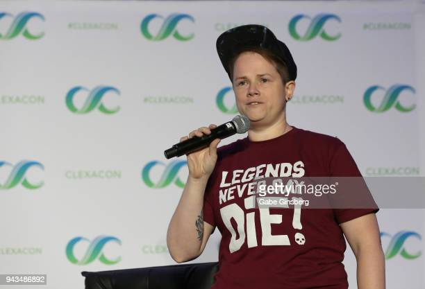 Moderator Jess HarrisDiStefano speaks at the Legends of Tomorrow panel during the ClexaCon 2018 convention at the Tropicana Las Vegas on April 8 2018...