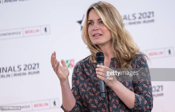 Moderator Jessy Wellmer at a press conference on the sports event Die Finals 2021 Berlin - Rhein-Ruhr on Mary 3rd, 21 at the Representation of the...