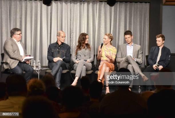 Moderator Jim Halterman and actors Michael Kelly Sarah Wayne Callies Kate Bosworth Jon Bevers and Noel Fisher speak onstage at SAGAFTRA Foundation...