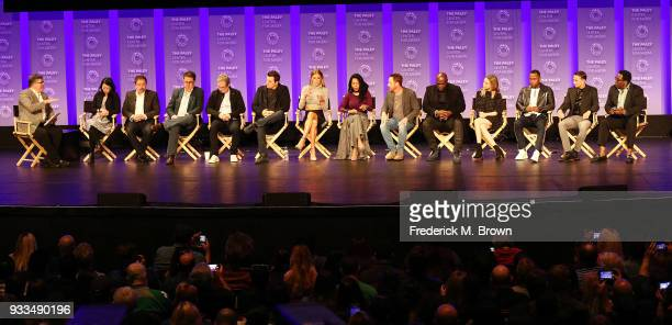 Moderator Jim Halterman and the cast of the television show 'The Orville' speak during The Paley Center for Media's 35th Annual PaleyFest Los Angeles...