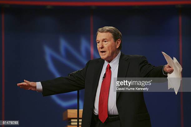 Moderator Jim Lehrer addresses the crowd before the first presidential debate at the University of Miami in Coral Gables Florida on September 30 2004