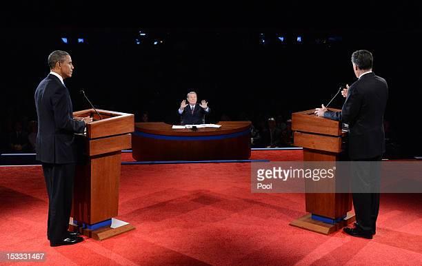 Moderator Jim Lehrer asks US President Barack Obama and Republican presidential candidate and former Massachusetts Gov Mitt Romney to respect the...