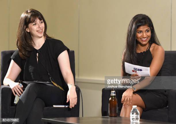 Moderator Joanna Rothkopf and Prachi Gupta at 'How to Handle the Dicks Empathy and Objectivity in the Age of Trump' panel during Politicon at...