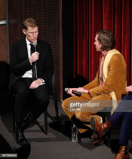 Moderator Joe McGovern and producer writer and director Wes Anderson on stage during The Academy of Motion Picture Arts Sciences Official Academy...