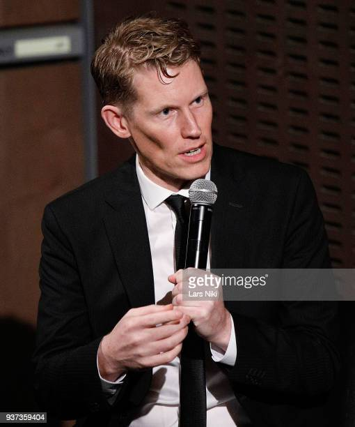 Moderator Joe McGovern on stage during The Academy of Motion Picture Arts Sciences Official Academy Screening of Isle of Dogs at the MOMA Celeste...
