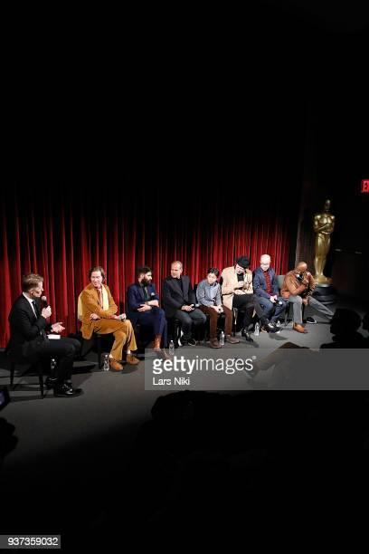 Moderator Joe McGovern producer writer and director Wes Anderson writer Jason Schwartzman producer Jeremy Dawson actor Koyu Rankin actor Jeff...