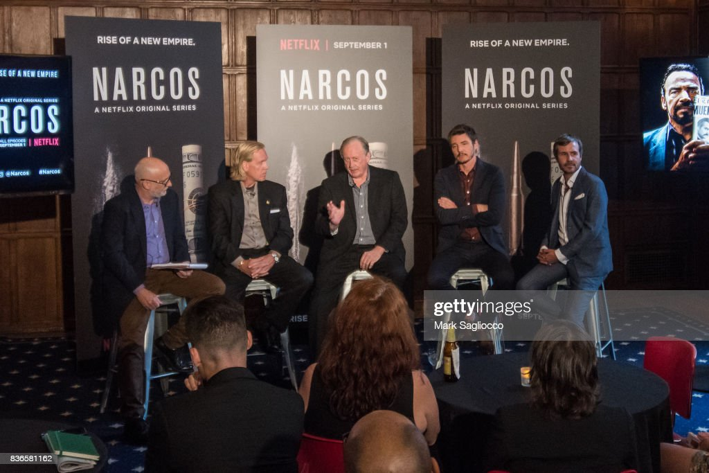 Moderator Joe Neumaeier, Chris Fiestl, William Rempel, Actor Pedro Pascal and Film Director Andi Baiz attend 'Narcos' Season 3 New York Screening Panel Discussion at The Explorer's Club on August 21, 2017 in New York City.