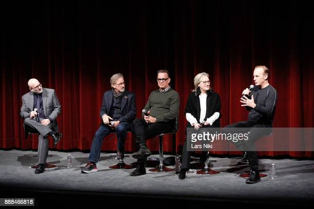 Moderator Joe Neumaier director and producer Steven Spielberg actors Tom Hanks Meryl Streep and Bob Odenkirk on stage during The Academy of Motion...