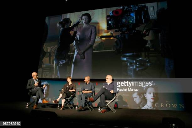 Moderator John Horn Costume Designer Jane Petrie Director of Photography Adriano Goldman and Production Designer Martin Childs speak onstage at the...