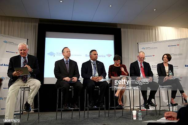 Moderator John Merrow speaks with Delaware Governor Jack Markell Bank of America consumer marketing analytics and digital banking executive Aditya...