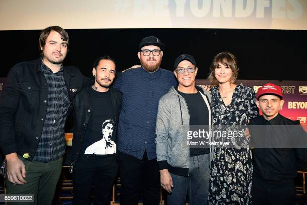 Moderator Jonah Ray creator Dave Callaham director Peter Atencio and actors JeanClaude Van Damme Kat Foster and Moises Arias attend the Beyond Fest...