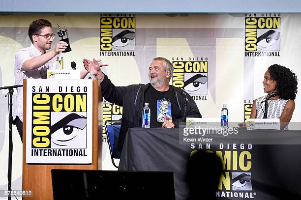 Moderator Josh Horowitz presents award to director Luc Besson and producer Virginie BessonSilla at the 'Valerian And The City Of A Thousand Planets'...