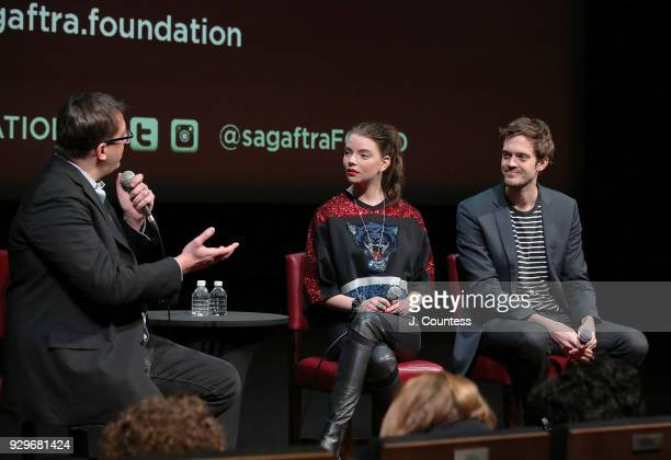 Moderator journalist Joshua Rothkopf actress Anya TaylorJoy and director Cory Finley speak during SAGAFTRA Foundation Conversations 'Thoroughbreds'...