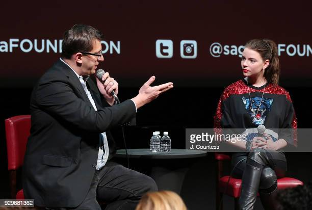 Moderator journalist Joshua Rothkopf and actress Anya TaylorJoy speak during SAGAFTRA Foundation Conversations 'Thoroughbreds' at The Robin Williams...