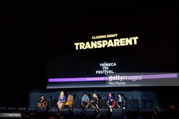 Moderator Jude Dry with Shakina Nayfack, Alexandra Billings, Jay Duplass Judith Light, Jill Soloway and Faith Soloway attend the panel discussion...